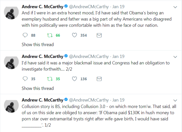 Andrew C. McCarthy on if Obama paid 130K to a porn star - 1-25-18