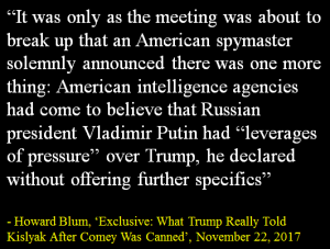Howard Blum - What Trump Told Kislyak - 11-22-17