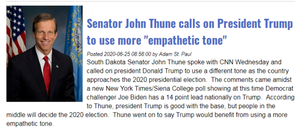 Senator John Thune Trump change tone empathetic - 6-25-20